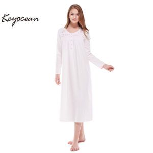 dbfd674dd6 Keyocean Nightgowns for Women 100% Cotton Embroidered Printing Long Sleeves  Long Sleepwear K18012 White