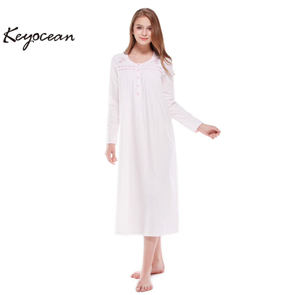 4db9961334 Keyocean Nightgowns for Women 100% Cotton Embroidered Printing Long ...