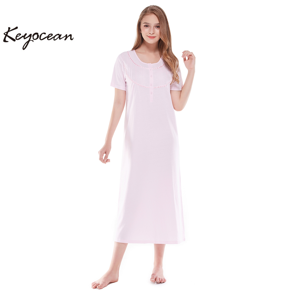 ef09c5a50d all cotton women s nightgowns short sleeves long nightgowns or sleepwear  pink