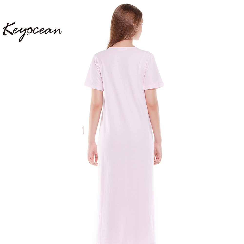 all cotton women s nightgowns short sleeves long nightgowns or sleepwear  pink 6f018d960666