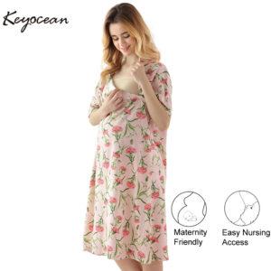 b118d1e16b930 Keyocean Women's Maternity Nightgowns, All Cotton Short Sleeve Nursing  Dress Pregnancy Dress for Breastfeeding, K18027