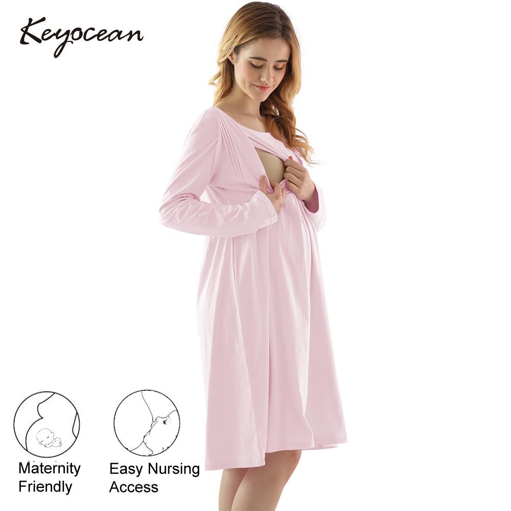 Keyocean Women S Maternity Nightgown All Cotton Soft Breastfeeding Nightgown Long Sleeve Nursing Nightgown Pregnancy Dress K18026 Keyocean